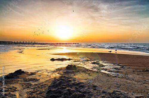 Leinwanddruck Bild Ostsee Sonnenuntergang