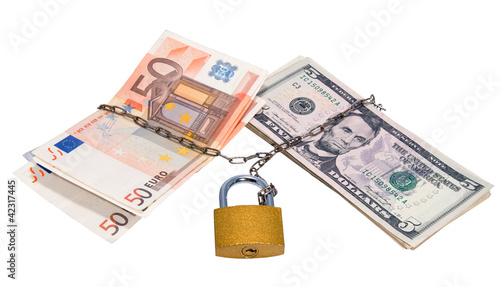 Money-related chain and padlock.