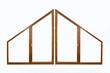 Fenêtre en bois triangulaire, fond blanc