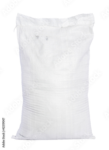 White canvas sack with full fertilizer isolated on white backgro