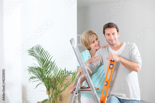 Couple decorating