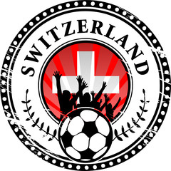 Stamp with football fans and name Switzerland, vector