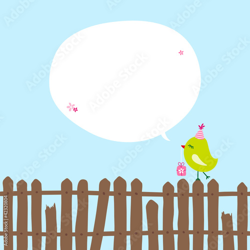 Green Bird With Gift On Fence Speech Bubble Blue