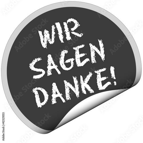 TF-Sticker rund curl unten WIR SAGEN DANKE!