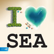 I love sea, vector Eps10 illustration