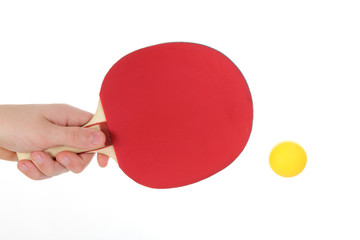 Table tennis racketwith orange ball