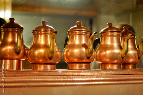 Old fashioned copper coffeepots in Istanbul, Turkey - 42321447