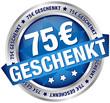 "Button Banner ""75 € geschenkt"" blau/silber"