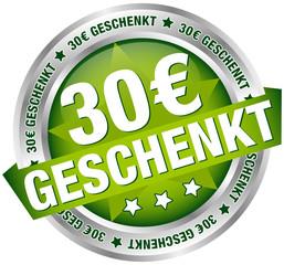 """Button Banner """"30 € geschenkt"""" grün/silber"""
