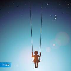 Little girl on a swing, vector Eps 10 illustration
