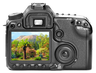 Digital camera with picture from holidays on a display.