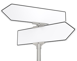 Blank directional road signs. White for Copy Space. Isolated.