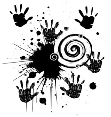 Hands and ink grunge style vector stock