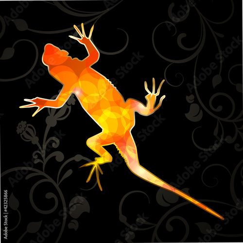Vector illustration of an abstract lizard