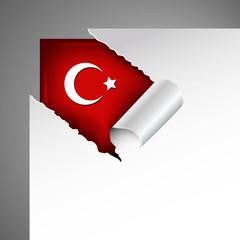 türkei flagge hinter riss in papier, metallic
