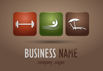 Business logo sports activities desing on brown background