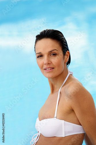 Woman in a white bikini