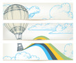 Hot air balloon over sky vector banners