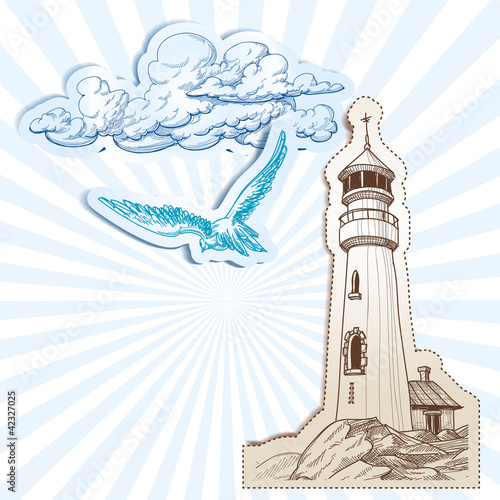 Lighthouse and sky background