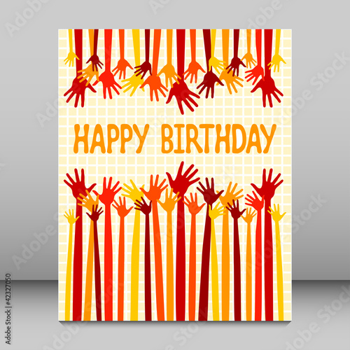 Happy birthday hands card vector.