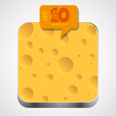 Vector cheese app icon with orange bubble speech. Eps10