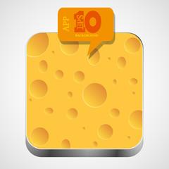 Vector cheese app icon with orange bubble speech. Eps10