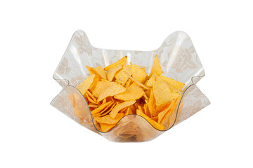 A wavy glass bowl with nachos isolated on a white background