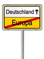 Ortsschild Deutschland Austritt aus EU