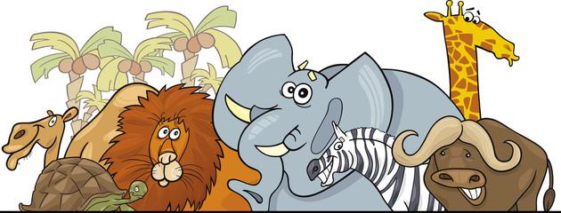 Cartoon African Safari wild animals design