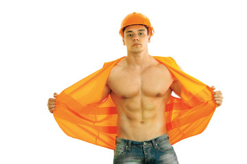 Worker Bodybuilder isolated on white background