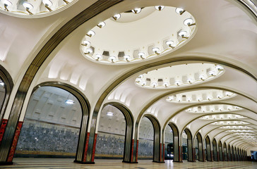 The old metro station Mayakovskaya in Moscow