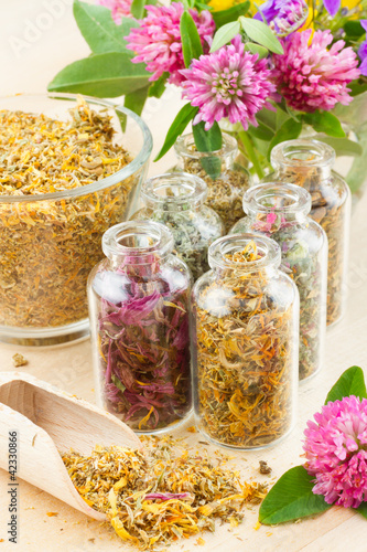 different healing herbs in glass bottles, flowers bouqet, herbal