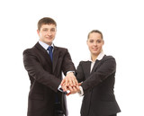 Business people, their hands together