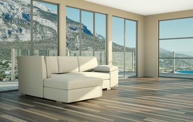 Weisses Sofa im Loft