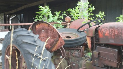 Scrap Metal Tractor With Tire In The Seat