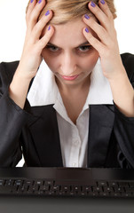 suffering from pain - young businesswoman with headache