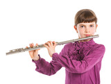 Girl playing transverse flute