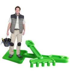 Man with spade and rake