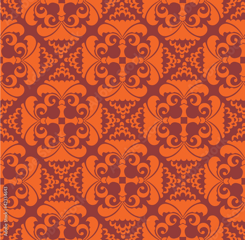seamless pattern background from plant motifs in a retro-style