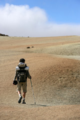 Man backpacking in the steppe