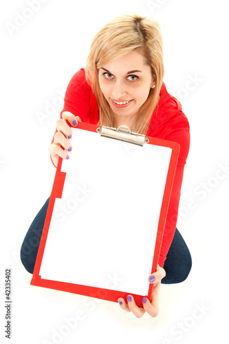 young woman keeping blank clipboard, high angle view