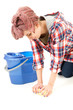 cleaning floor woman with blue bucket