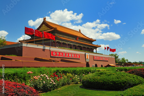 Foto op Aluminium Beijing China's flag construction Tiananmen Gate