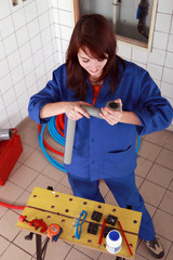 repair girl preparing her tools