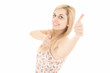 happy young woman with thumbs up, white background
