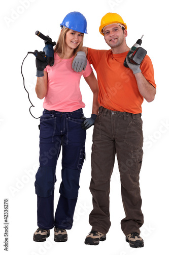 Portrait of laid-back tradespeople