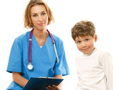 A female doctor is examining boy with a stethoscope