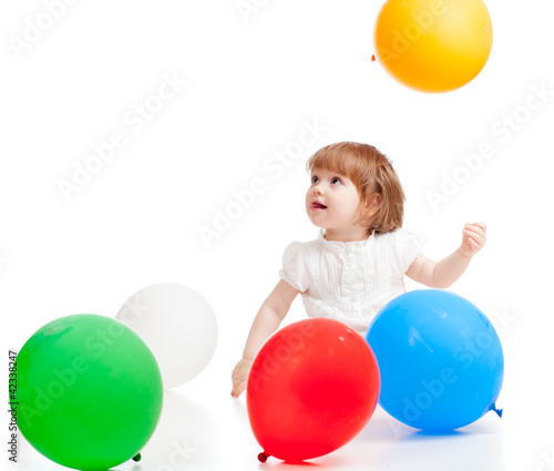 girl  with colorful balloons, isolated on white