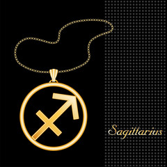 Sagittarius Necklace, Chain, gold silhouette astrology symbol