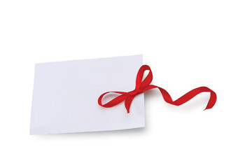 card note with ribbon on white background